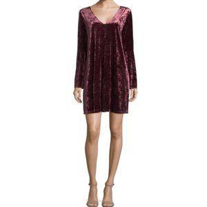 a.n.a Wine Crushed Velvet Bell Sleeve Dress XL NWT
